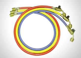 Multi Color Manifold Gauge Set R410a Refrigerant Hoses With Ball Valves